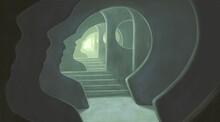 Brain Psychology Mind Soul And Hope Concept Art, 3d Illustration, Surreal Artwork, Imagination Painting, Conceptual Idea