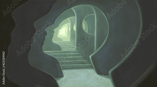 Fényképezés Brain psychology mind soul and hope concept art, 3d illustration, surreal artwor