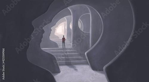 Fényképezés Brain mind way soul and hope concept art, illustration, surreal mystery artwork,