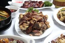 Freshly Cooked Filipino Food Called Crispy Pata Or Deep Fried Crispy Pork Leg