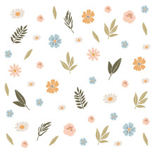 Abstract Spring Flowers, Boho Flowers Set, Easter Spring Decoration, Traditional Easter Elements, Floral Spring Composition, Happy Easter Vector Pattern