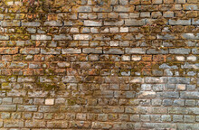 Brick Wall Covered With Moss. Textures, Surfaces And Backgrounds