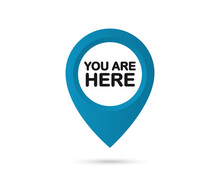 You Are Here. Map Pointer Icons. Sign Icon Mark Location Pointer Pin. GPS Location Symbol. Destination Or Location Point Concept. Vector Illustration. EPS 10