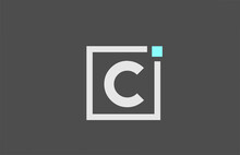 Grey C Alphabet Letter Icon Logo. Square Design For Company And Business Identity With Blue Dot