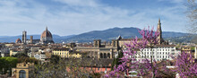 Beautiful View From Piazzale Michelangelo Of Florence Cityscape In Spring. From The Left, Cathedral Of Santa Maria Del Fiore And Basilica Of Santa Croce. Italy