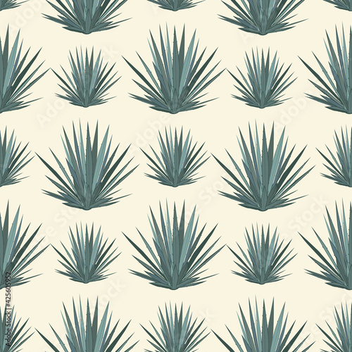 Vector seamless pattern with blue agave Poster Mural XXL