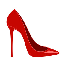 Elegant Red High Heel Shoe Or Stiletto Vector