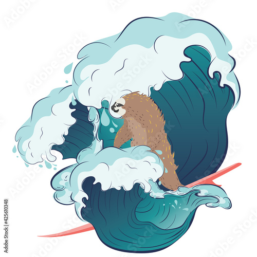 Fototapeta premium Sloth surfing waves