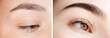 Before and after correction of brow hair. Young woman with beautiful eyebrows