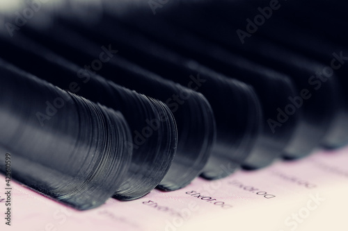 Obraz Set artificial black lashes pink isolated background, eyelash extension - fototapety do salonu