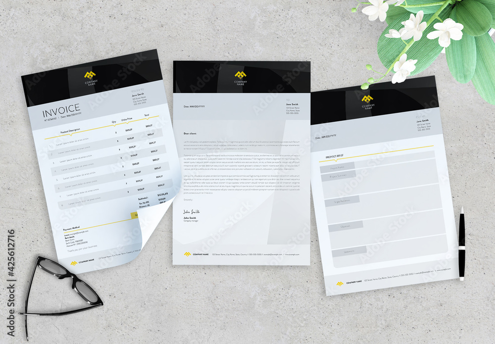 Fototapeta Black and Yellow Simple Invoice, Letter and Proyect Brief