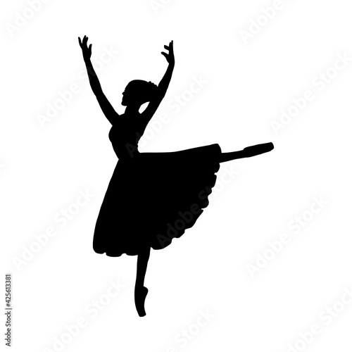 Fotografering Black silhouette of ballerina with raised hands, vector illustration isolated