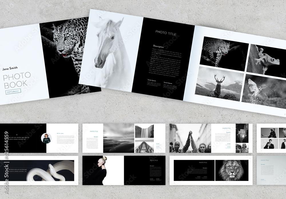 Fototapeta Black and Green Minimal Style Photobook Layout