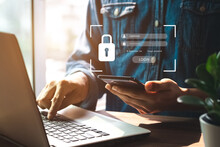 Concept Of Cyber Security, Information Security And Encryption, Secure Access To User's Personal Information, Secure Internet Access, Cybersecurity.