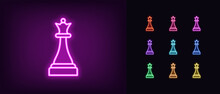 Neon Chessmen Queen Icon. Glowing Neon Queen Sign, Outline Chess Piece, Silhouette