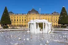 Würzburg, Residence In Winter, Garden Front, Frozen Fountain