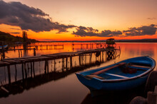 Mood And Tranquility With A Moored Boat