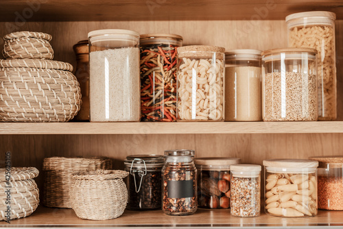 Obraz na plátně Organizing zero waste storage in the kitchen