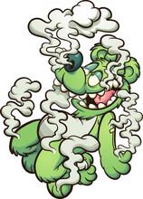 Green Teddy Bear Floating In White Smoke