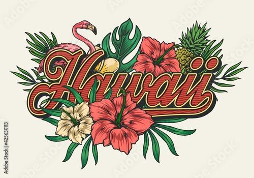 Tropical hawaiian vintage colorful print