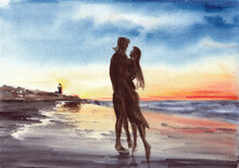 He And She On The Beach In Evening Time, Sunset Over Ocean