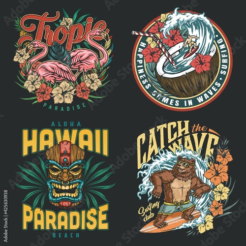 Fototapeta Hawaii surfing vintage colorful prints obraz