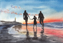 Family Walking On The Beach In Evening Time, Sunset Over Ocean