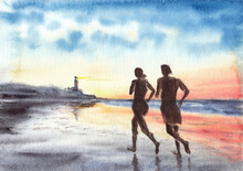 Woman And Man Are Running On The Beach In Evening Time, Sunset Over Ocean