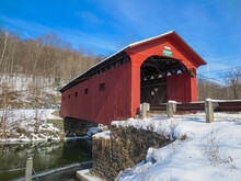 West Arlington Covered Bridge On A Beautiful Winter Day In Vermont