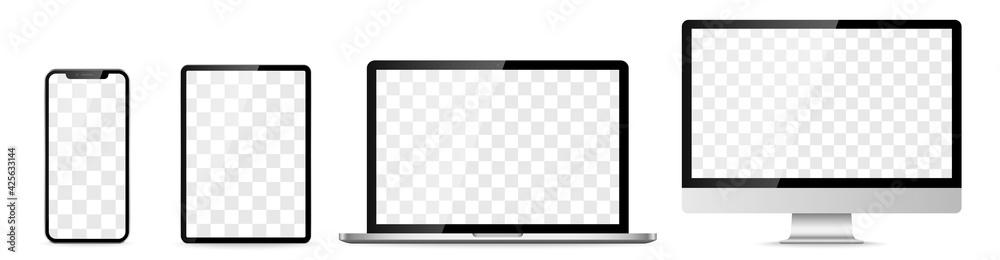 Obraz Device screen set - laptop smartphone tablet computer monitor. Vector fototapeta, plakat