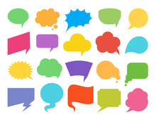 Colorful Speech Bubbles Flat Icon Set. Empty Design Elements For Comic Book, Text Message, Chat Comment, Idea Thought, Discussion. Speak Balloon Shapes, Talk Clouds, Cartoon Think Banner, Note Label