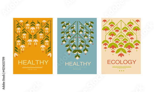 Obraz Healthy Ecology Card Templates Original Design Set, Environmental Protection, Healthy Lifestyle Banners Vector Illustration - fototapety do salonu