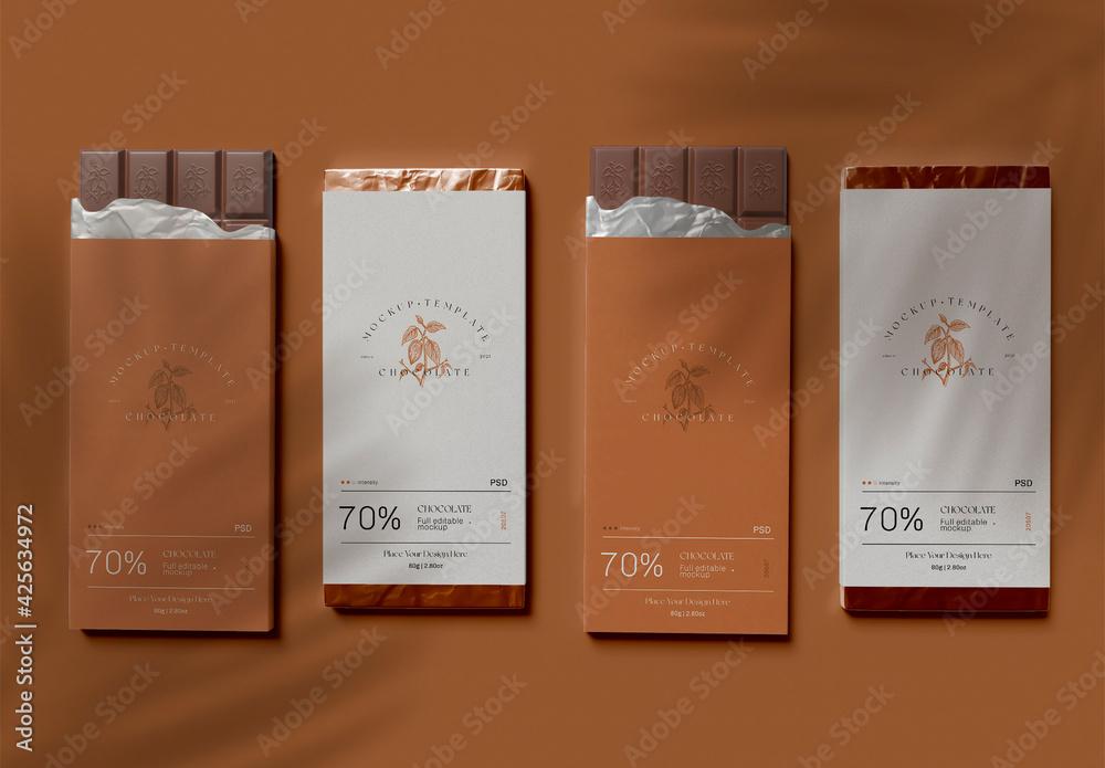 Fototapeta Four Chocolate Bars with Wrap Mockup