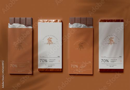 Obraz Four Chocolate Bars with Wrap Mockup - fototapety do salonu