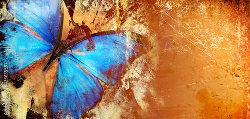 Obraz na plátně Abstract piantting - golden blue butterfly wings. fine art
