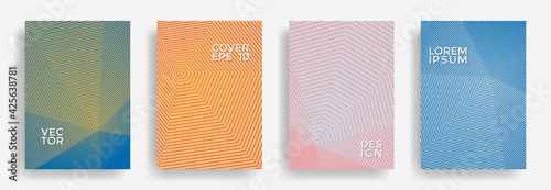 Fototapeta Hexagonal halftone pattern cover pages vector creative design.