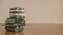 Cell Phone Batteries. Stacked. Battery Recycling. Recovery Of Copper, Gold, Lithium