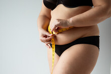 Middle Aged Curvy Woman Body With Belly Diet Concept
