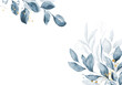 Pale blue leaves - botanical design banner. Floral pastel watercolor border frame.