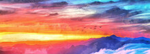 Wide Panoramic View Of The Sunset Sky. Birds Are Flying Over The Mountains. Artistic Works On The Theme Of Nature