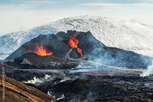 Canvastavla Fagradalsfjall volcanic eruption, Iceland