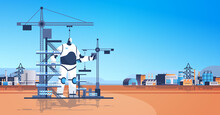Modern Robot Foreman Engineer Against Construction Site With Building Tower Cranes Artificial Intelligence Technology