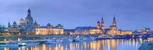 Night Panorama Of Dresden Old Town With Reflections In Elbe Rive