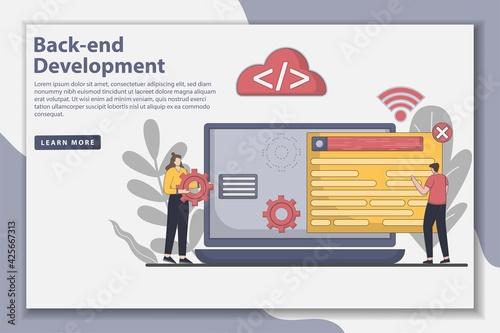 Obraz na płótnie Illustration Flat Line design Back end development landing page concept