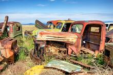 Old Rusty Trucks In A Junkyard