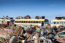 Old Rusty Junkyard Bus And Parts