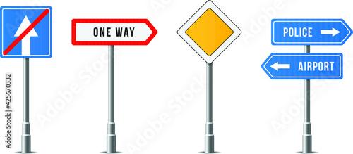 Fotografie, Obraz set realistic traffic signs roadsign symbol