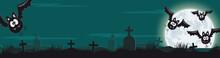 Halloween Banner Mit Friedhof, Fledermäusen Und Vollmond