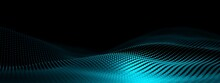 Blue Cyan Wave Points Terrain Or Landscape Over Black Background, Technology Or Business Template