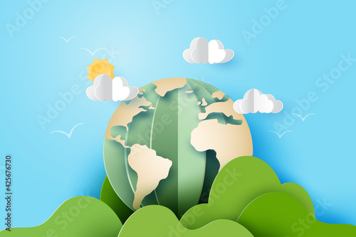 Obraz 3d Paper art abstract template background.Green earth with mountains, clouds and sun on blue sky. - fototapety do salonu
